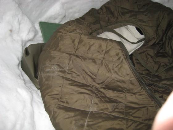 Den dicken Pullover, den ich zunächst als Kopfkissen nutzte musste ich im Verlauf der Nacht doch anziehen.