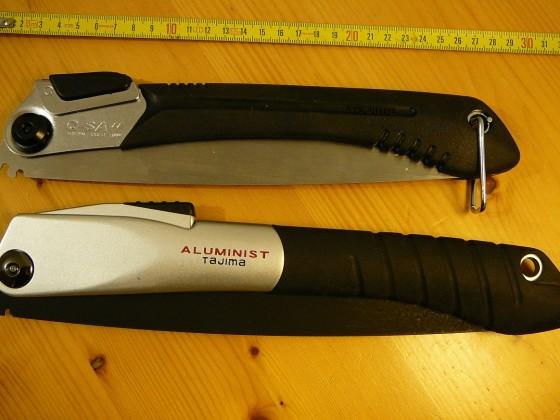 Vergleich Klappsägen Tajima Aluminist 270 black & G-SAW 240