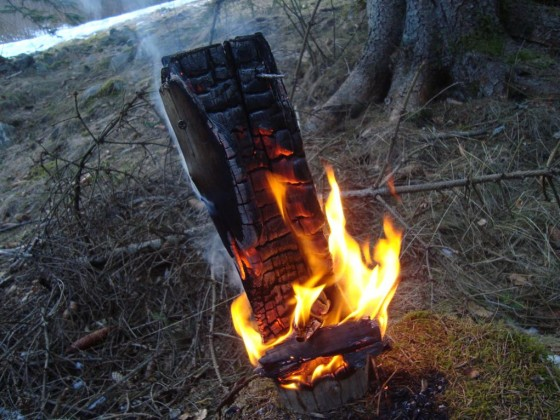 Schwedenfeuer in Aktion